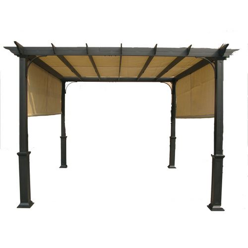 "$480 Garden Treasures  120""L x 120""W Square Pergola with Canopy.  Lots of reviews/advice on the website.  And it's cute!"
