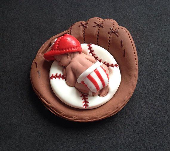 Fondant baby boy Cincinnati Reds team cake by evynisscaketopper, $25.00