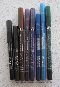 NYC Waterproof Eyeliner Pencil, dupe for Urban Decay 24/7 eyeliners.
