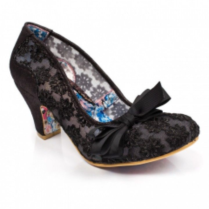 Irregular Choice Palm Cove Black Womens Heels Court Shoes