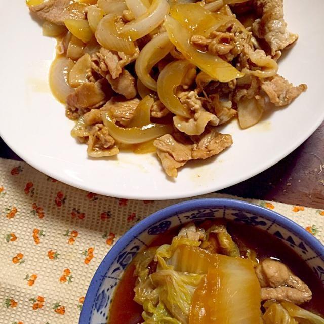 世間は連休ですが、私は仕事だったので、残り物で夕食。色が同じ^_^ - 5件のもぐもぐ - 豚肉と白菜の煮浸し 豚肉と玉葱のソース炒め by 4jinoanata