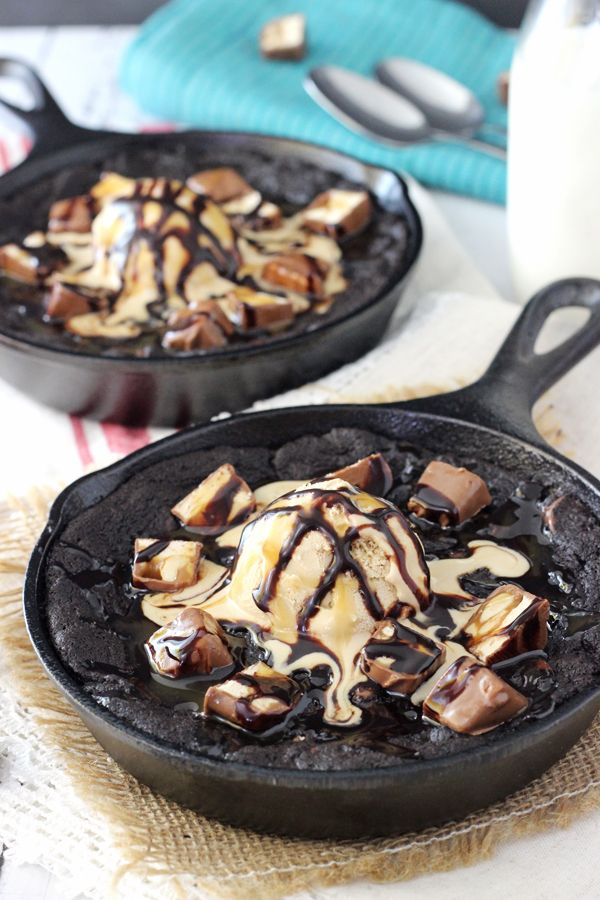 Snickers Chocolate Chip Skillet Cookie  Insanely Delicious Cast Iron Desserts