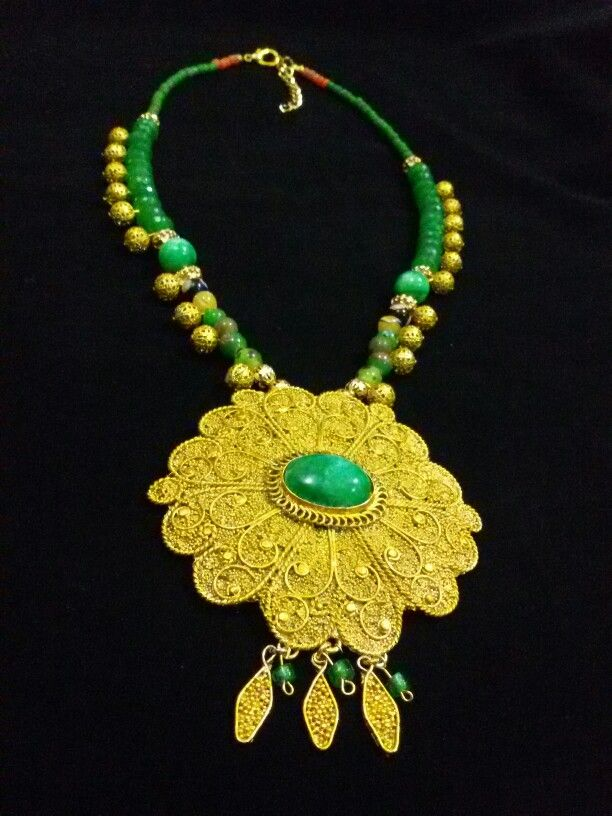 Indonesian Ethnic Jewelry: Java big flower with jade by Wita Anggraini-Indonesia