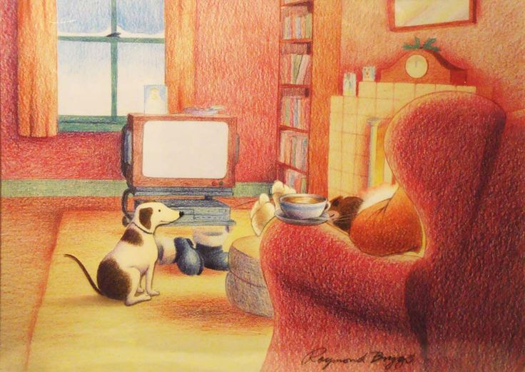 """""""Dog front of the fire with Father Christmas"""" by Snowman Enterprises (Raymond Briggs)"""