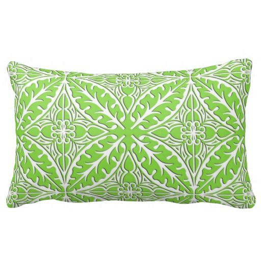 Moroccan Tiles Lime Green And White Pillow Lime Green