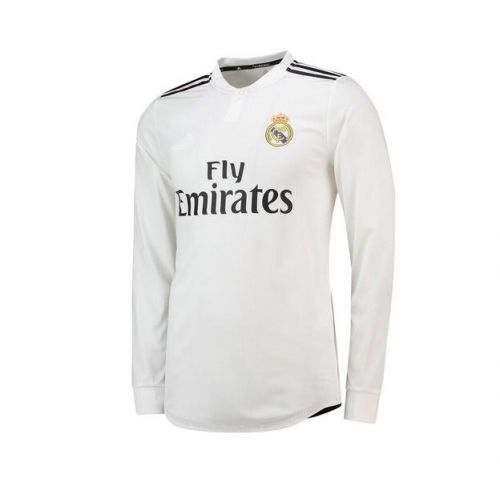 ac87030f9ac Real Madrid Long Sleeve Home Soccer Jersey Shirt 2018-19 cheap LS football  kit on goaljerseyshop.com