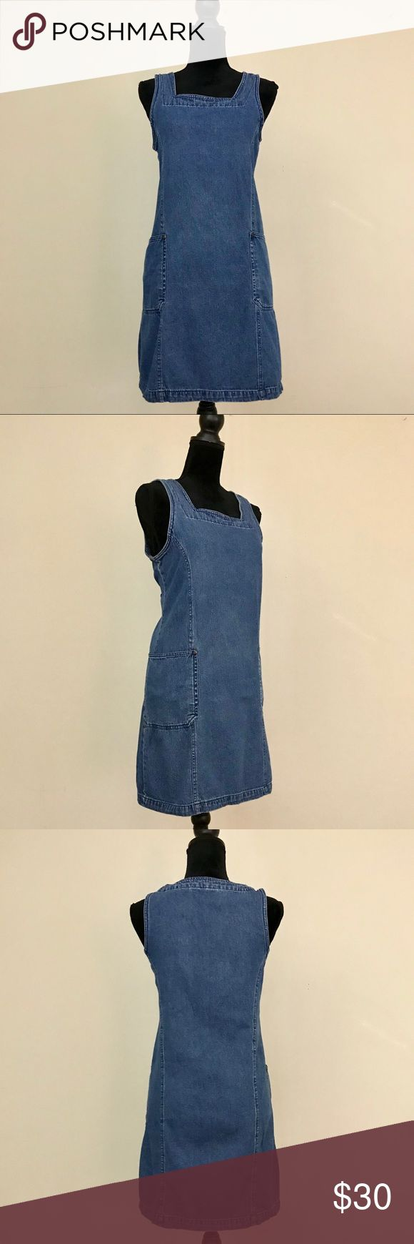 Vintage 1990s Route66 Blue Denim Tank Jumper Dress This sleeveless jumper dress is made of 100% cotton, blue denim material. Features two front pockets. Material provides no stretch. Layer with a shirt as a jumper or wear on its own. In excellent vintage condition without any major flaws. Please see last image for measurements to ensure a proper fit. Vintage Dresses Mini