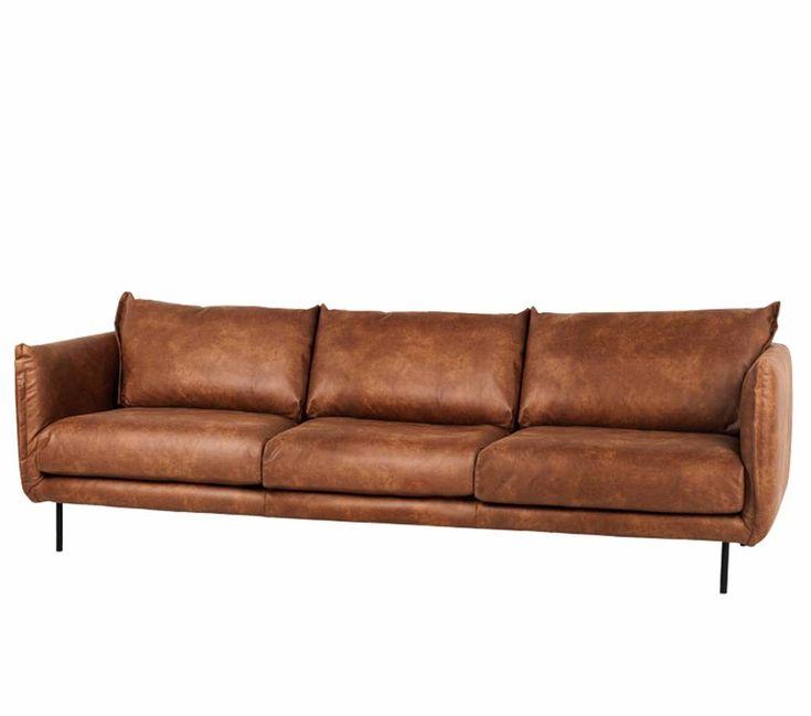 Grote leren bank cognac bruin Braxton Tarente sofa 4 zits en 3 zits bank 270cm