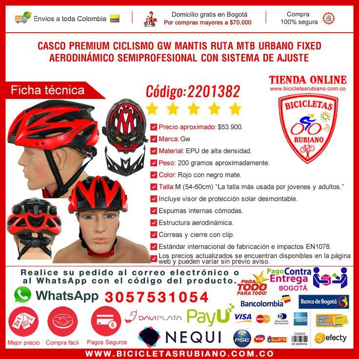 """Casco premium ciclismo GW MANTIS RUTA/MTB/URBANO/FIXED/PATINAJE aerodinámico semiprofesional con sistema de ajuste y visor de protección solar / Talla M  Antes $65.000 - Ahora $53.900. http://www.bicicletasrubiano.com.co/categoria-cascos/33-2201382-casco-premium-ciclismo-gw-mantis-ruta-mtb-urbano-fixed-aerodinamico-bicicleteria-colombia-bogota.html  SEDE EN BOGOTÁ * Punto de entrega en Fontibón con cita previa, no tenemos local abierto al público. * Whatsapp: 3057531054 """"Pedidos"""". * Envíos…"""