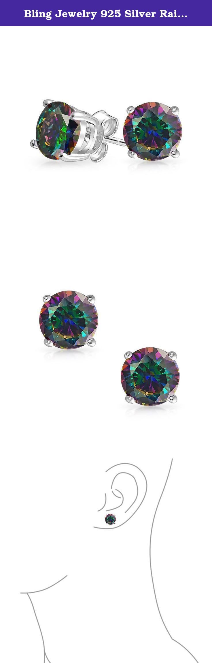 Bling Jewelry 925 Silver Rainbow CZ Stud Earrings 9mm. These gorgeous Simulated Rainbow Topaz cz stud earrings will look great on your earlobe. The Simulated Topaz colored stones are a beautiful round cut shape that produces lots of sparkle. Gift these earrings today. They are a smart purchase and come in an array of sizes so you will find the perfect mens stud earrings for any guy on your list.