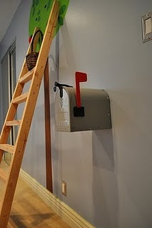 Playroom mailbox. The mom leaves her kids little notes and special things inside...