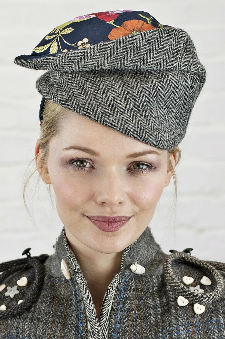 Hat made from vintage Harris Tweed combined with a wool pattern scarf. www.saratiara.com