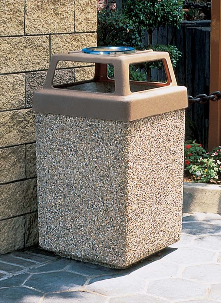 Trashcans Unlimited  - 53 Gallon Concrete 4 Way Open Top Outdoor Waste Container TF1040 (Optional Ashtray), $328.00 (https://trashcansunlimited.com/53-gallon-concrete-4-way-open-top-outdoor-waste-container-tf1040-optional-ashtray/)
