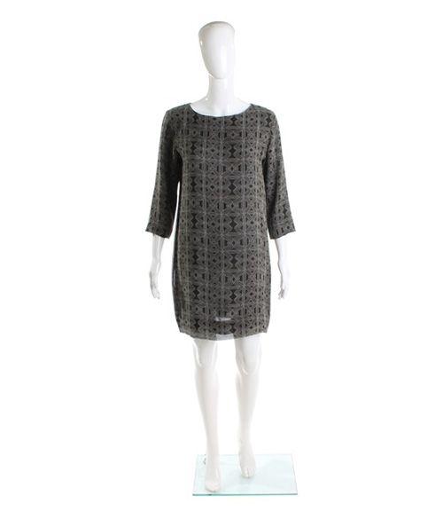 "Roupa Pemmaraju Jimmy sheath dress. 100% silk knee length shift dress with Art work designed by indigenous Australian artist ""Jimmy Pike""""- Winter 2013 collaboration with designer ""Roupa Pemmaraju ""-wearing picture suggestion with ""Ben coat""  Price $367"