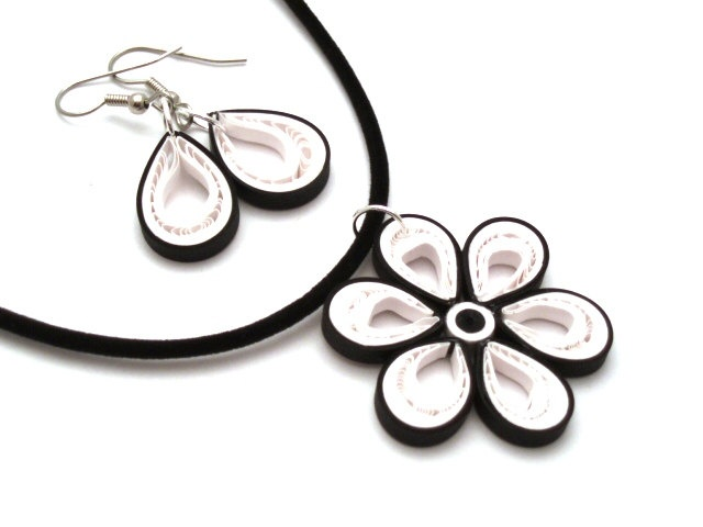 Black and White Malaysian Flower Necklace and Simple Paper Quilled Drop Earrings. $14.00, via Etsy.