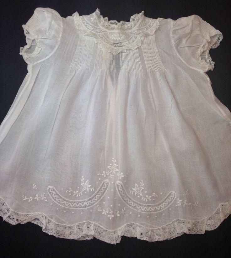 Feltman Bros Beautiful Vintage Baby Dress with Matching Slip Embr Pintuck Mint, image 1 | eBay