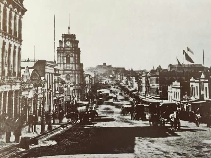 Bourke Street, Melbourne looking east,c1870. National Library of Australia.