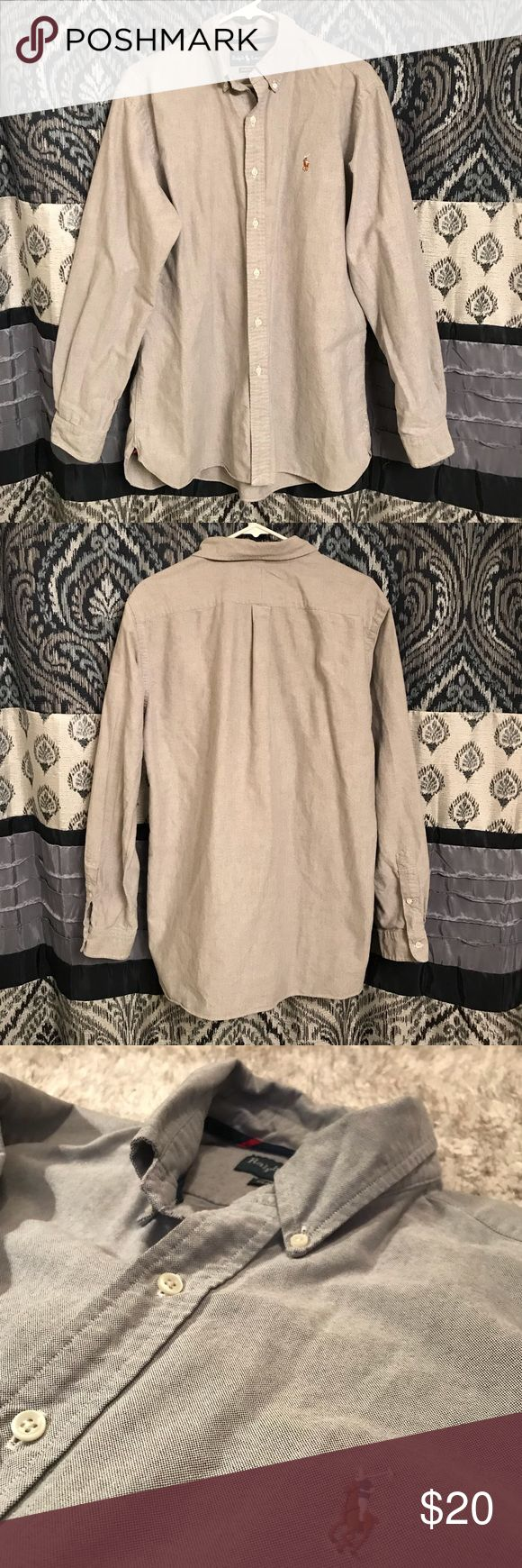 Men's Long Sleeve Polo Grey Men's Long Sleeve, Button Down Polo. Worn once. Like New! Polo by Ralph Lauren Tops Button Down Shirts