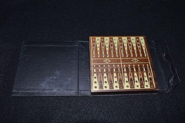 Vintage Pocket Backgammon Board, Drueke Game Board Wooden Pegs, Travel Backgammon Leather Case, Faux Book Backgammon Game, Pocket Game Board by FabulousVintageStore on Etsy