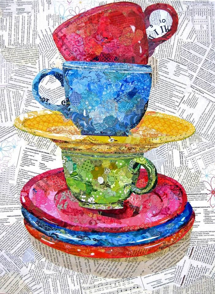 Gelli painted papers throughout the cups/saucers. Wanda Edwards - Torn Paper Paintings