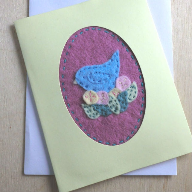 Felt Fabric Bird Card  £2.50
