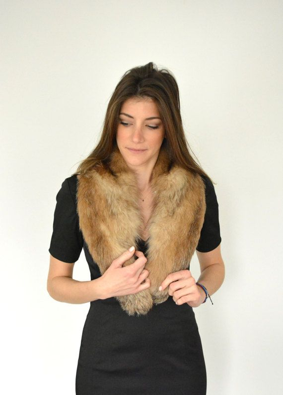 Women's Handmade Brown scarf made with genuine Fox fur by lefushop