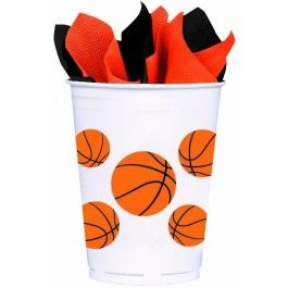 Hack-a-Shaq and throw the best basketball bash of the year!  Featuring basketballs on a white background, the Basketball Fan Plastic Cups are sure to take your watching party or basketball birthday party to the top of the bracket.  Each cup holds 14 ounces of your favorite thirst-quencher and come in a pack of 8.