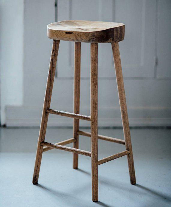 Bailey Weathered Oak Stool Etsy Oak Bar Stools Oak Stool Wood Bar Stools