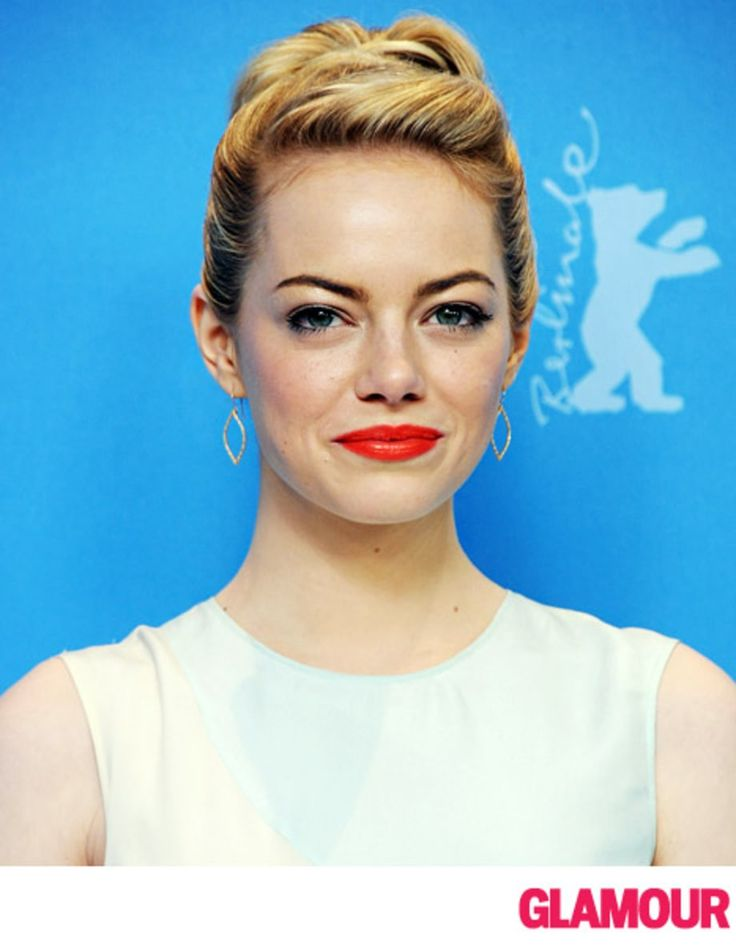 Emma Stone Pulls Back Bangs For a Retro Hairstyle - Us Weekly