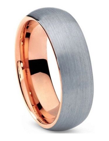 Kiross Rose | It's pretty awesome $95 Men's Wedding Band | Rose Gold w Silver Soft Brush Finish | Dome Shape