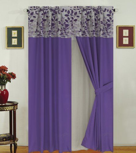 Fresca Purple And Gray Curtain Set By Kinglinen 34 95