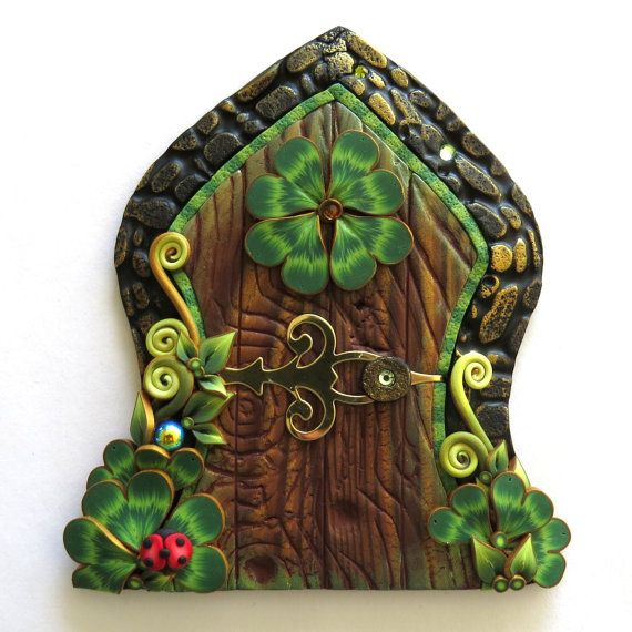 Lucky Clover with a Ladybug Fairy Door Shamrock Pixie by Claybykim