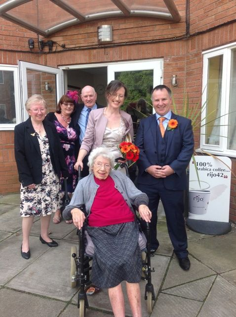 #BirchGreen's big day - One of Birch Green's oldest residents, Elizabeth 'Betty' Burrows, couldn't make it to her granddaughter's #wedding, so the wedding came to her.  Betty, 95, was unable to attend granddaughter Janet's wedding day due to ill health. Janet married husband Lee at #Ormskirk registry office, with a #reception at nearby Briars Hall Hotel where guests enjoyed a meal of #fishandchips.