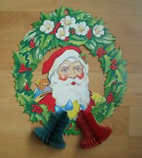 Vintage Father Christmas Honeycomb Wall Decoration - 1970s