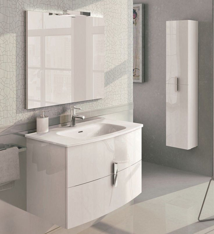 Photo Album Gallery  inch Modern Wall Mount Bathroom Vanity White Finish with White Integrated Porcelain Sink http