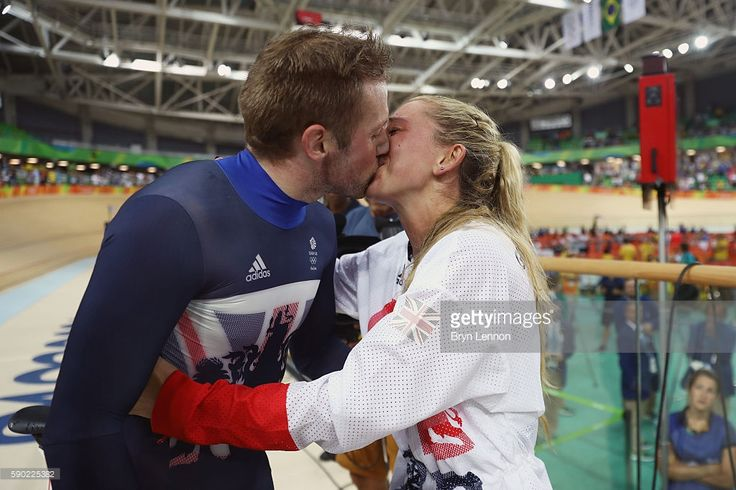 Gold medalist Jason Kenny of Great Britain celebrates with girlfriend, cycling gold medalist Laura Trott of Great Britain, after the Men's Keirin Finals race on Day 11 of the Rio 2016 Olympic Games at the Rio Olympic Velodrome on August 16, 2016 in Rio de Janeiro, Brazil.