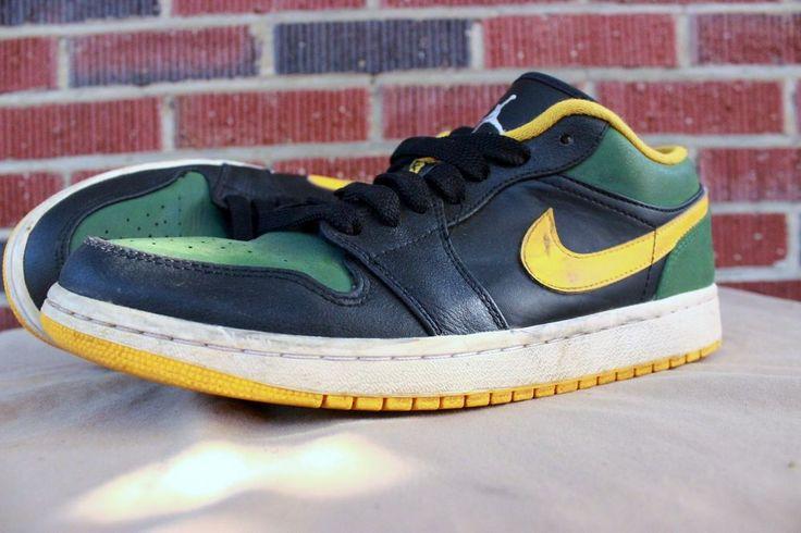 Nike Air Jordan 1 Low Retro Shoes Sneakers Sz 9 Gold Green Sonics 553558 037 #Nike #AthleticSneakers