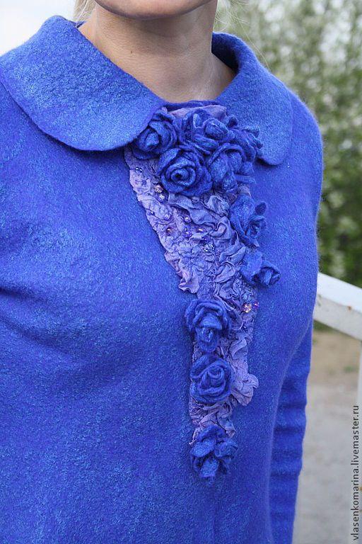 Купить Жакет валяный Самые синие розы - синий, однотонный, жакет валяный, нунововойлочный жакет