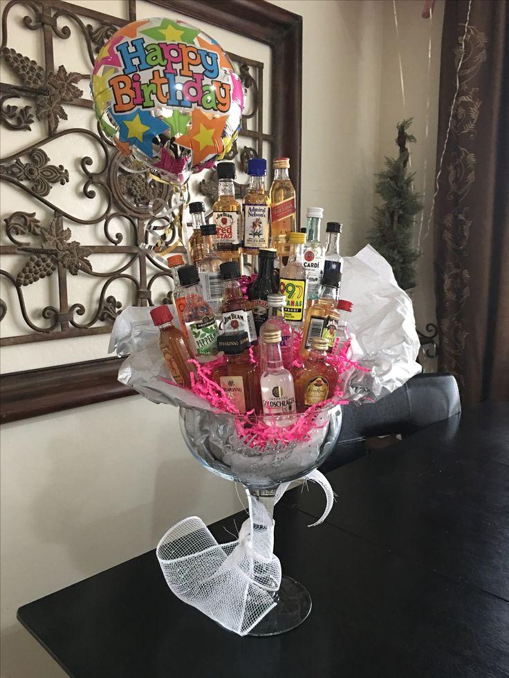 Mini alcohol bouquet 21st birthday margarita glass