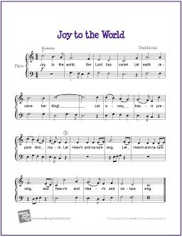 Joy to the World (Christmas) | Free Sheet Music for Easy Piano - http://makingmusicfun.net/htm/f_printit_free_printable_sheet_music/joy-to-the-world-piano.htm