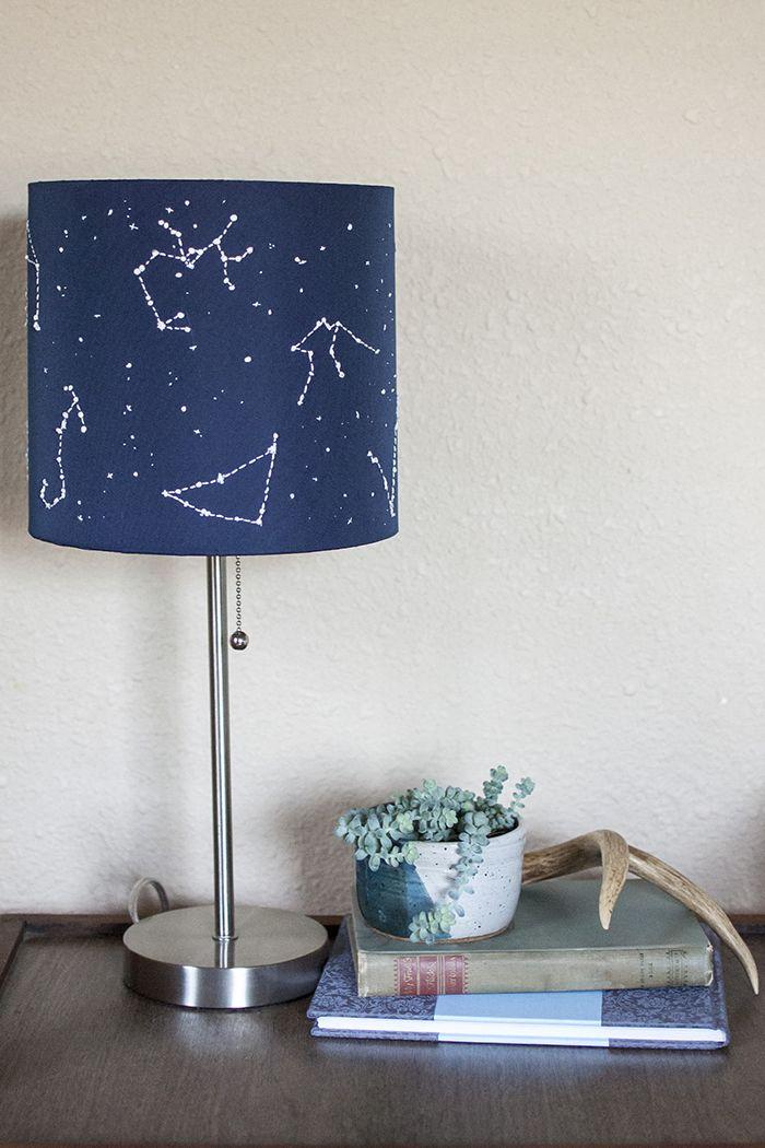 DIY constellation glowing star lamp shade.