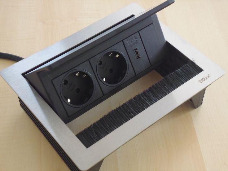 EVOline 159370028-USB FlipTop Push mit 2 Steckdosen+USB-Charger Küche
