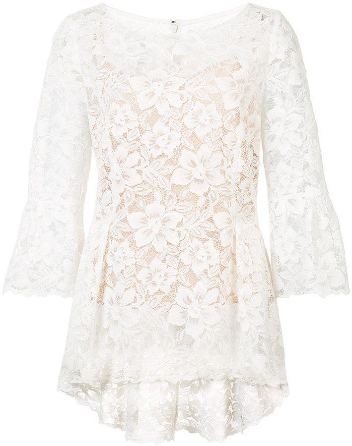 Oscar de la Renta - blouse en dentelle à col bateau - women - coton/Nylon - 6