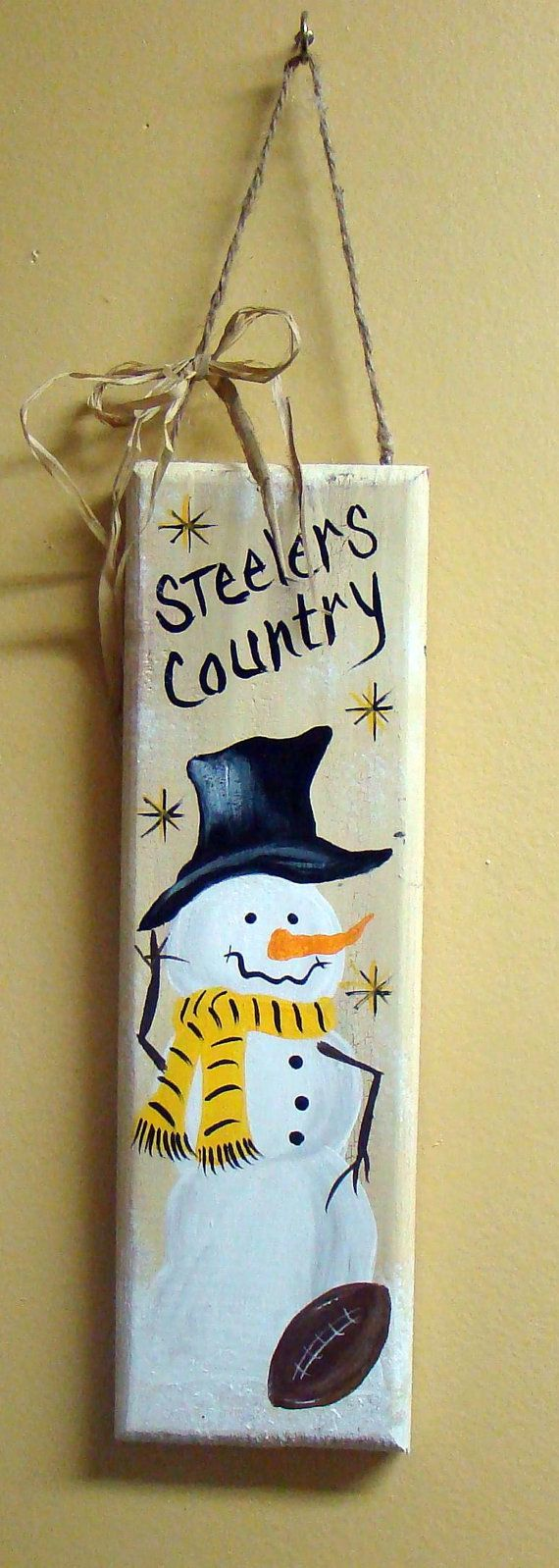 Sports Themed Team Snowman Sign Steelers by CreativeDesigns77, $21.95