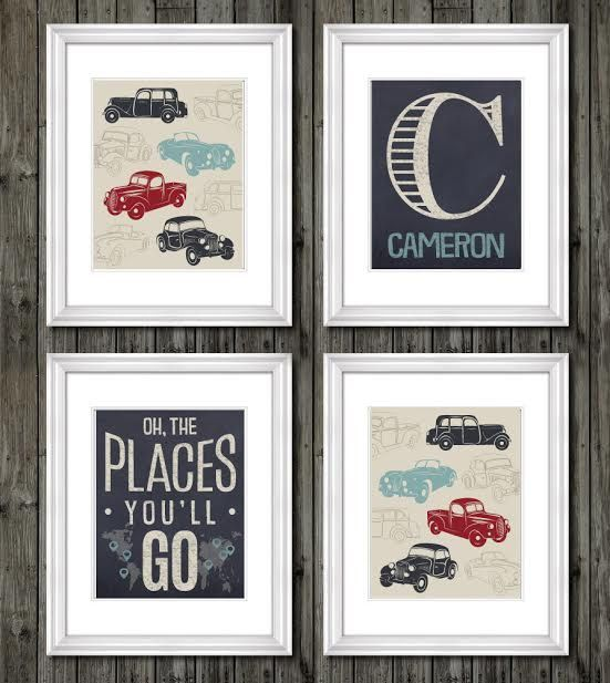 Vintage trucks and transportation theme for boys nursery or bedroom, oh the places you'll go, transportation decor for boy, personalized art