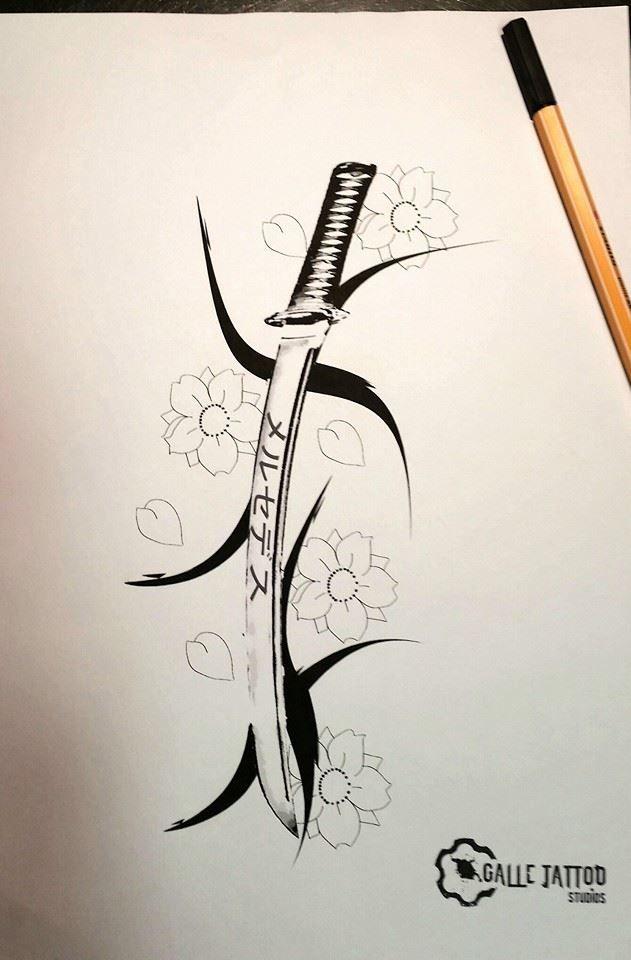 Японская катана рисунки