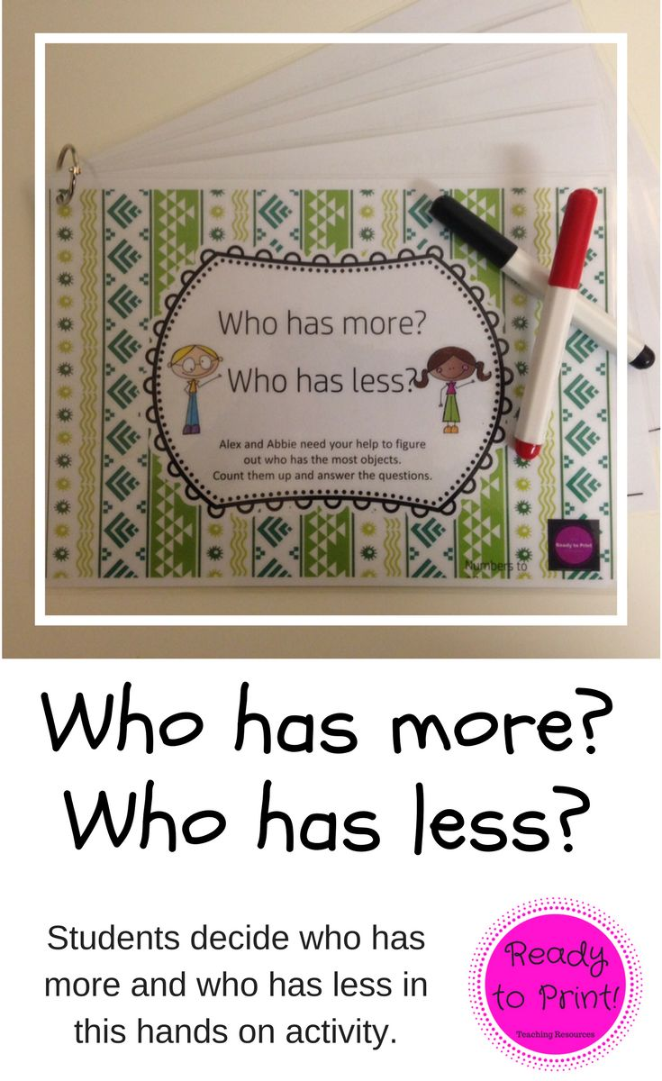 Students use this hands on activity to practice finding out who has more or less items.