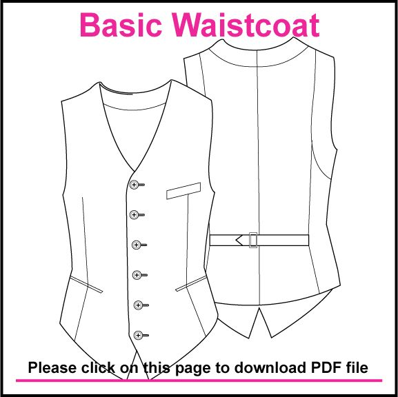 BASIC SINGLE BREASTED WAISTCOAT PATTERN, CREATED IN ILLUSTRATOR & SAVED AS PDF
