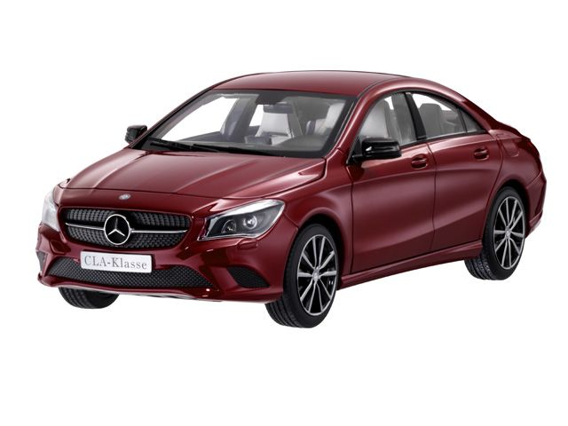 CLA-Class designo patagonia red BRIGHT - B66960131 The Concept Style Coupé from Mercedes‑Benz is a sporty mid-size coupé with an avant-garde design. The four-door coupé is a style rebel: non-conformist, provocative and masculine. CLA‑Class, C117, various colours. Diecast zinc. Hand-assembled precision model made up of over 100 individual parts. Scale 1:18. Genuine paintwork colours. Accurate reproduction. 6 opening parts. High-quality printed interior. In Mercedes‑Benz gift box.