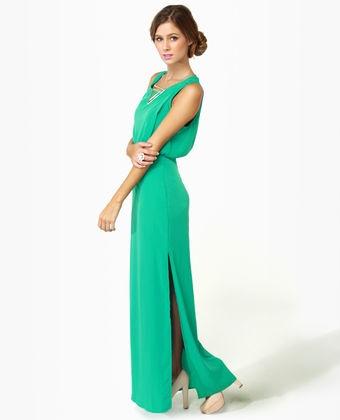 cute! Whatchama-Column Teal Maxi Dress